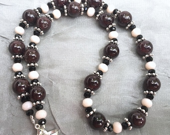 "Short 17"" natural garnet necklace, Burgundy white, Matching earrings, Semiprecious stone jewelry, Formal jewelry set, January birthstone"