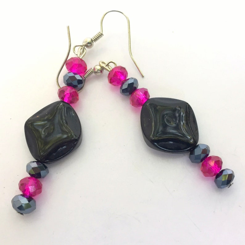Fuchsia Pink Black Pendant Necklace Matching Long Earrings Dichroic Glass 18 inches OOAK Handmade Unique
