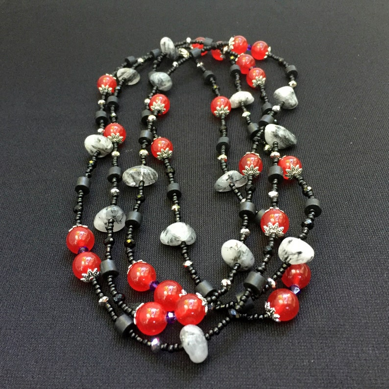 Super long 66 Red gray black multi wrap necklace OOAK unique artisan Natural semiprecious gemstone beads Bohemian multi stone jewelry