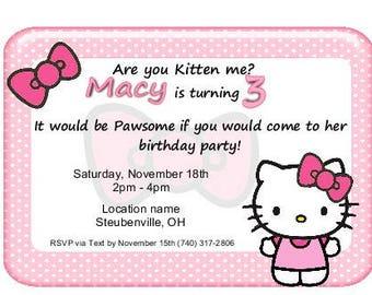 Hello Kitty Birthday Invitation Print it yourself Digital download