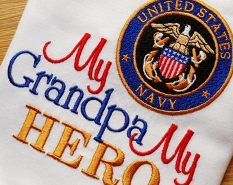 My Grandpa My HERO -Daddy Mommy Uncle Aunt Grandma -Shirt Onesie Army, Air Force, Coast Guard, Marines National Reserves Any Military Branch