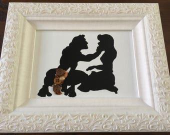 Button art Prince princess canvas board Tarzan and Jane