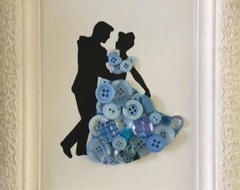 Button art Princess canvas board Cinderella dancing prince wall decor girls room