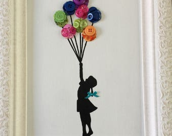 Button art canvas board hand painted floating balloons girl dream silhouette
