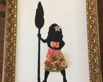 Button art Princess canvas board Moana