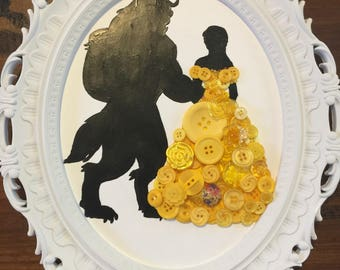 Button art Princess canvas board Belle beauty and the beast