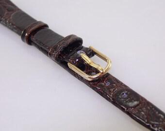10mm R 3/8 Vintage Kreisler Dark Brown Genuine Leather Replacement Watch Band Strap Regular Fit NOS