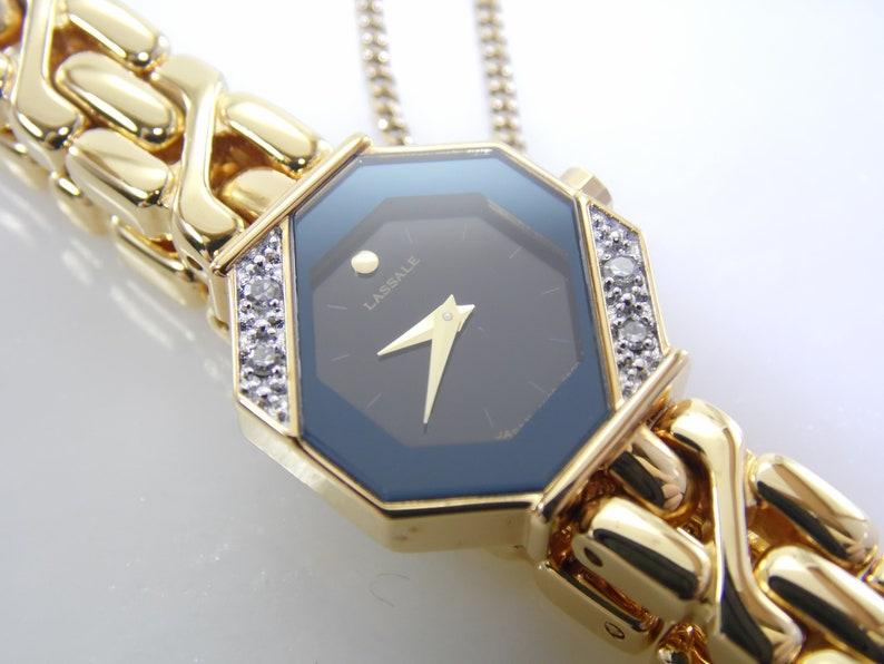 2d035756f83 Super Rare Vintage Seiko Lassale Black   Gold Genuine Diamond