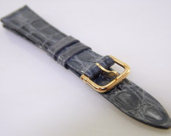 14mm R 9/16 Vintage Kalbe Gray Genuine Leather Replacement Watch Strap Band NOS