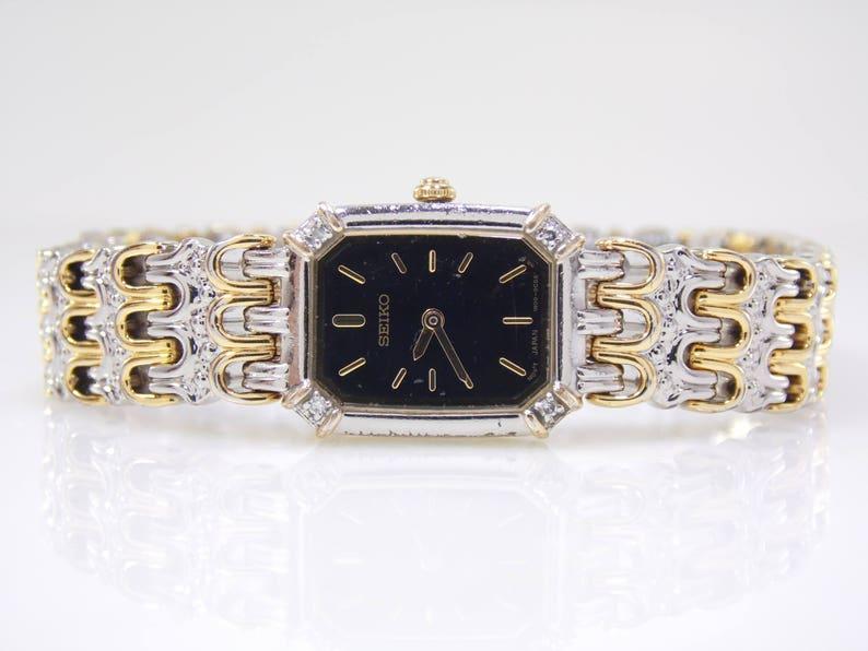 c3a3f3c8dde Vintage Seiko Gold Silver Stainless Steel Genuine Diamond