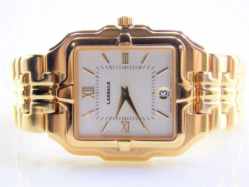 8d312ffb77a Rare Vintage Lassale by Seiko Mens Large Thin Profile Gold