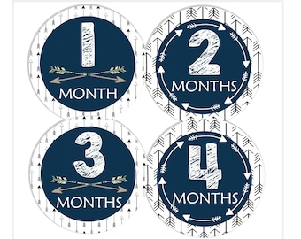 Tribal Arrow Baby Boy Month Stickers, Monthly Baby Stickers, Baby Shower Gift, Baby Scrapbook Stickers, Month by Month