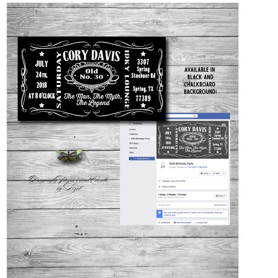 Liquor Themed Birthday Invite For Facebook Or Evite Event Page 40th 50th 60th Digital Invitation Customized
