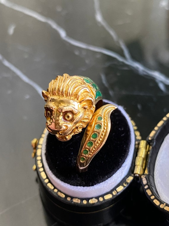 Antique Lion Ring, Gold Lion Ring, Antique Enamel