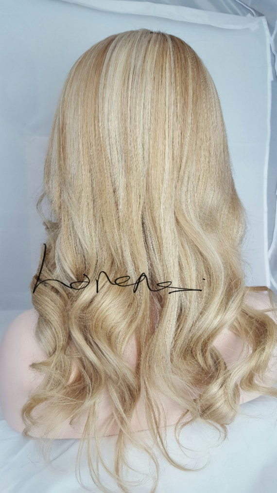 Clip In Human Hair Extensions 613 Blonde And Medium Golden Etsy