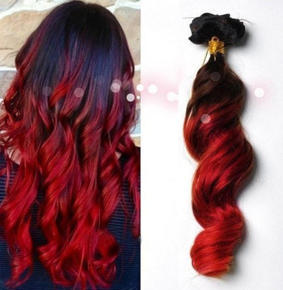 Clip In Virgin Human Hair Extensions 1b Natural Black Red Etsy