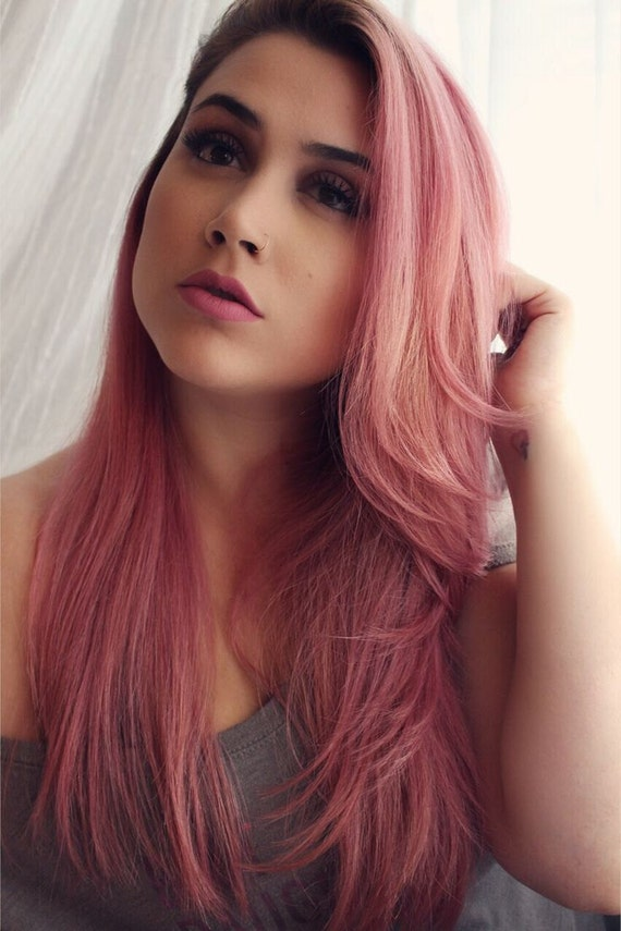 Clip In Remy Human Hair Extensions Smokey Pink