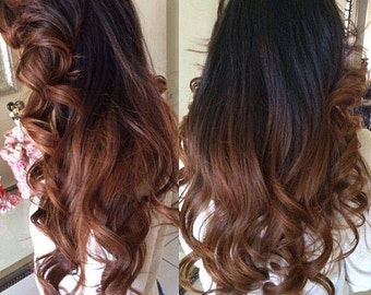 Clip in Human Hair Extensions 1b - Natural black and Copper Brown ombre