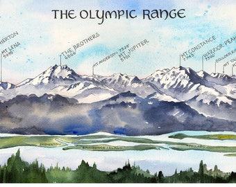 Mountain range map | Etsy