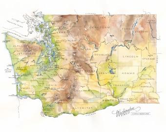 Washington State Map // Watercolor Illustration // State of Washington, Seattle, Pacific Northwest, Spokane, Puget Sound