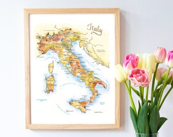 Italy Map Portrait  Labelled Watercolour  Digital or Printed Wall Art  Large Map Poster  Gift Idea  Giclee Print  Home Decor