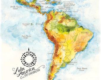 Latin america map | Etsy
