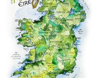 Ireland Map Etsy