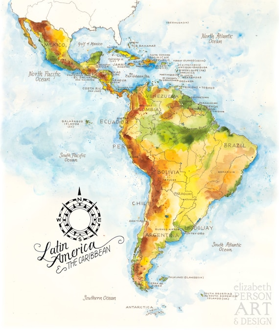 Latin America & the Caribbean Map Watercolor Illustration South Central  American Mexico Brazil Chile Latin America Map Wall Art Poster