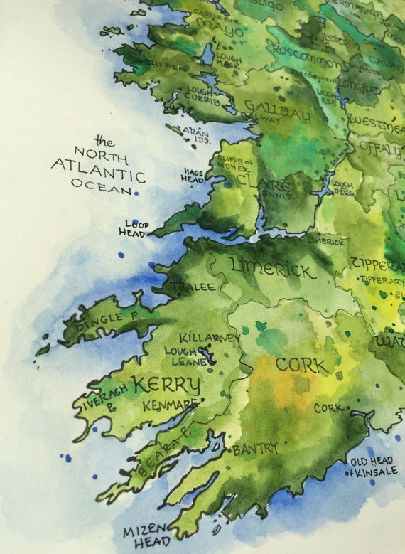 Country Of Ireland Map.Ireland Map Watercolor Illustration Country Of Ireland Irish County Dublin Northern Ireland Irish Eire Map Wall Art Print Poster