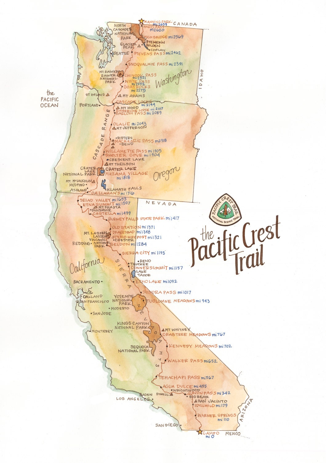 Pct Wall Map Pacific Crest Trail Map Detailed Watercolor PCT Through Hiker | Etsy