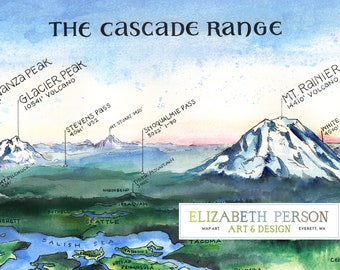 Washington Cascades Watercolor Illustration Cascade Range Mountains Baker Glacier Rainier Hood St Helens Range Chart WA Mountain Wall Art