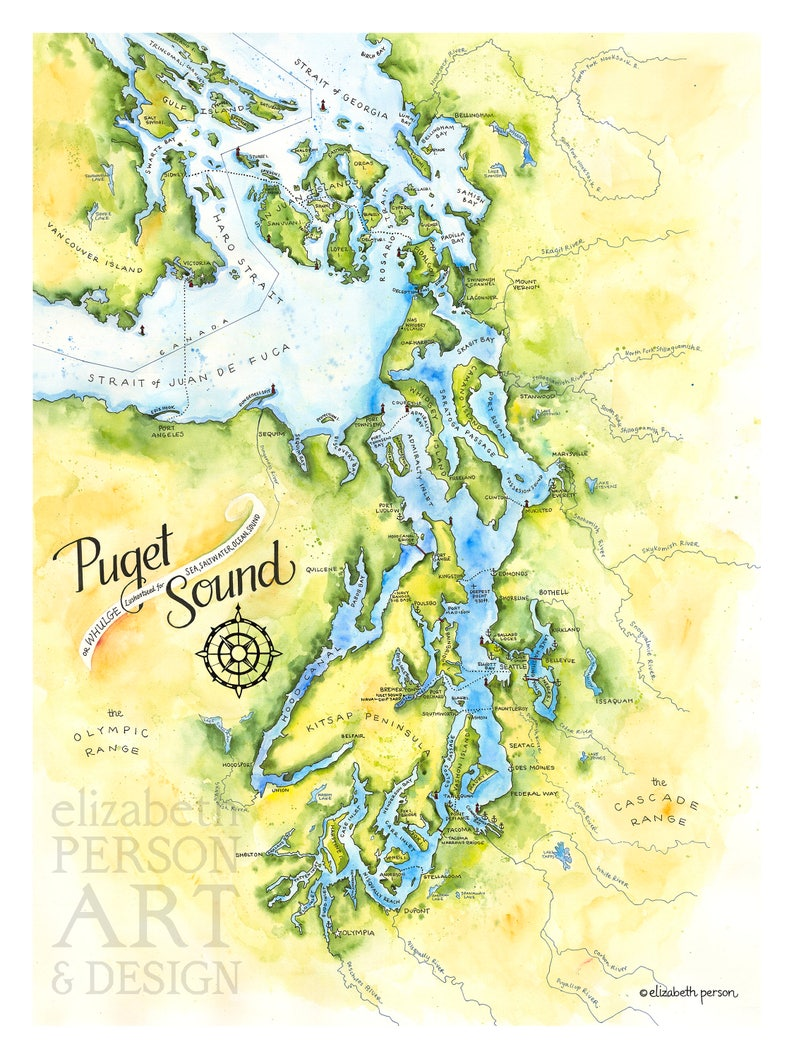 Puget Sound Map Watercolor Illustration Puget Sound Nautical Etsy - Puget-sound-on-us-map