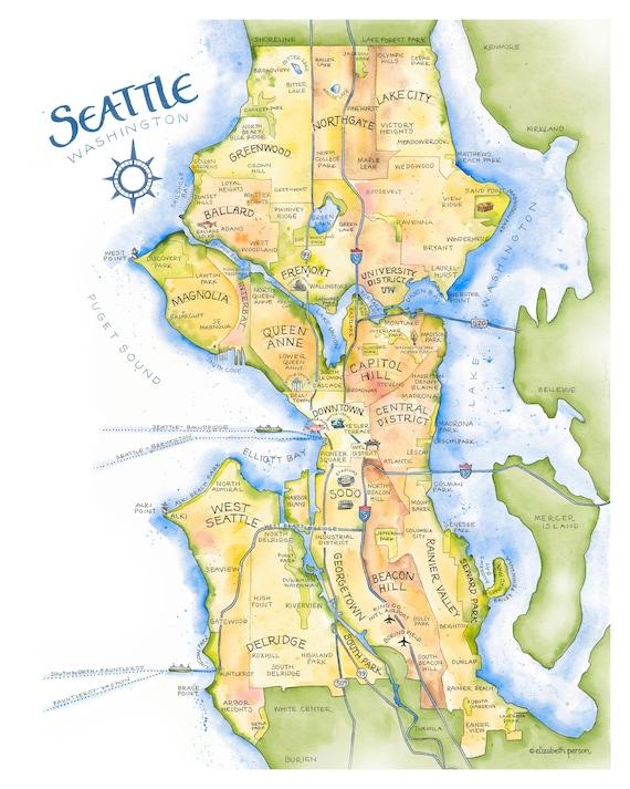 Ballard Seattle Neighborhood Vintage Map Keychain Ballard Keychain
