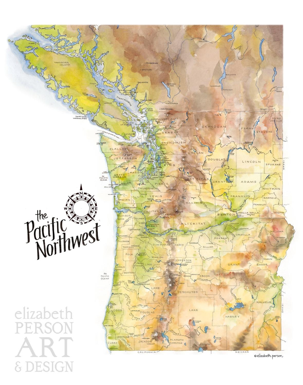 Bc Washington Map.Pacific Northwest Map Watercolor Illustration Washington Etsy
