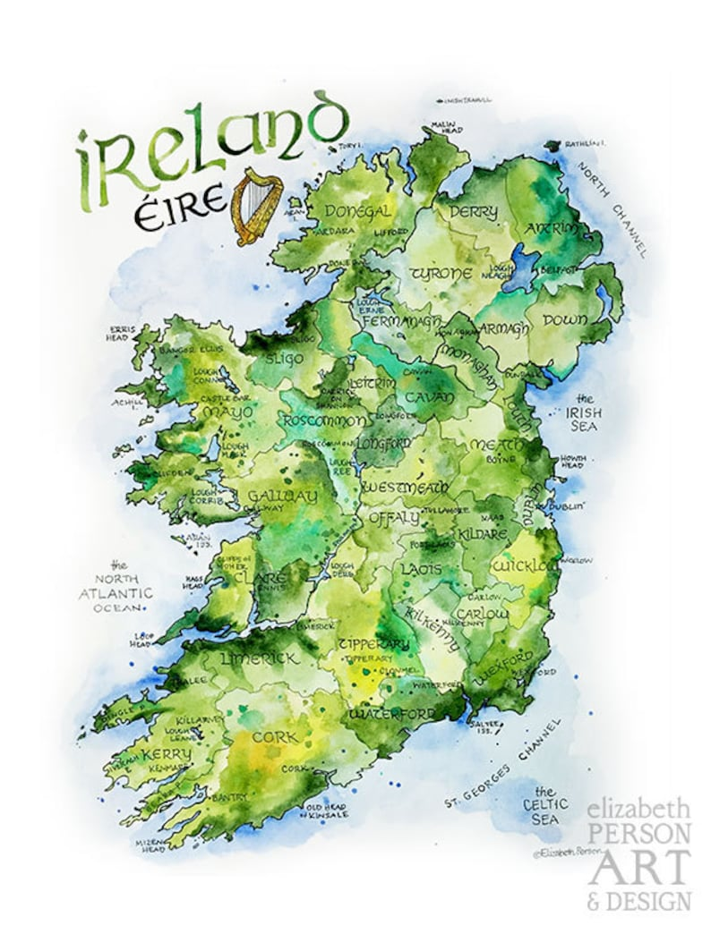 Images Of Map Of Ireland.Ireland Map Watercolor Illustration Country Of Ireland Irish County Dublin Northern Ireland Irish Eire Map Wall Art Print Poster