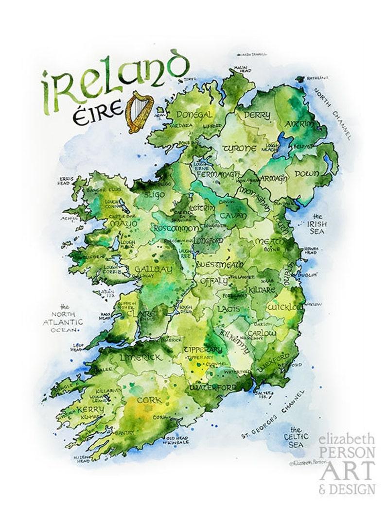 Map Of Ireland Northern Ireland.Ireland Map Watercolor Illustration Country Of Ireland Irish County Dublin Northern Ireland Irish Eire Map Wall Art Print Poster