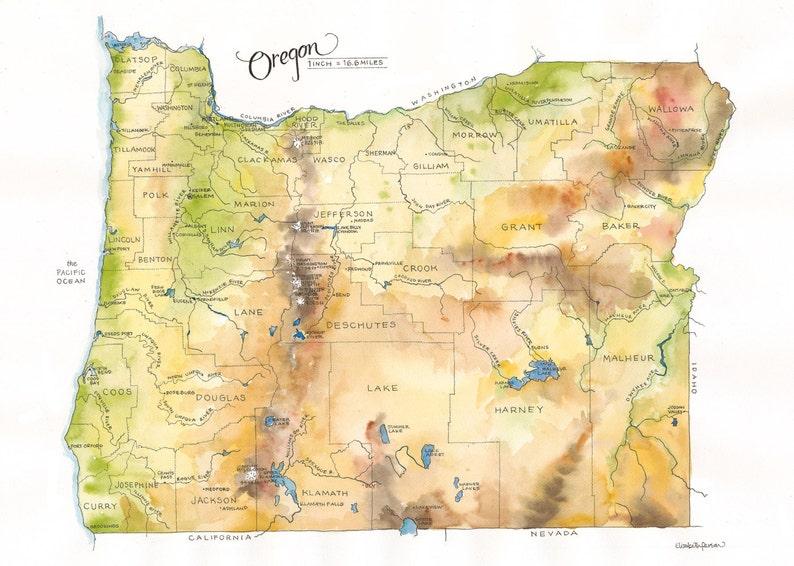 Oregon State Map Watercolor Illustration Portland Ashland Etsy