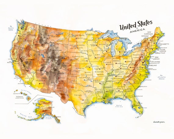Us Map Artwork.The United States Of America Map Watercolor Illustration Usa Etsy