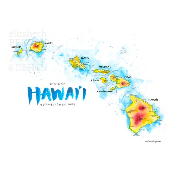 Hawaii Map Watercolor Illustration Hi Hawaiian Islands Hawaii Etsy