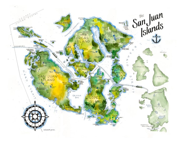 San Juan Islands Map Watercolor Illustration Orcas Lopez San Juan Shaw  Waldron Guemes Center Island Anacortes Puget Sound Wall Map Art Print