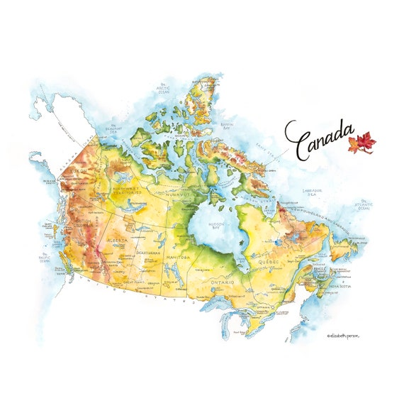 Canada Map Watercolor Illustration Country Map Canadian Province Map Wall  Art Ottawa Quebec Artwork Map Poster Roadtrip Travel Gift Print
