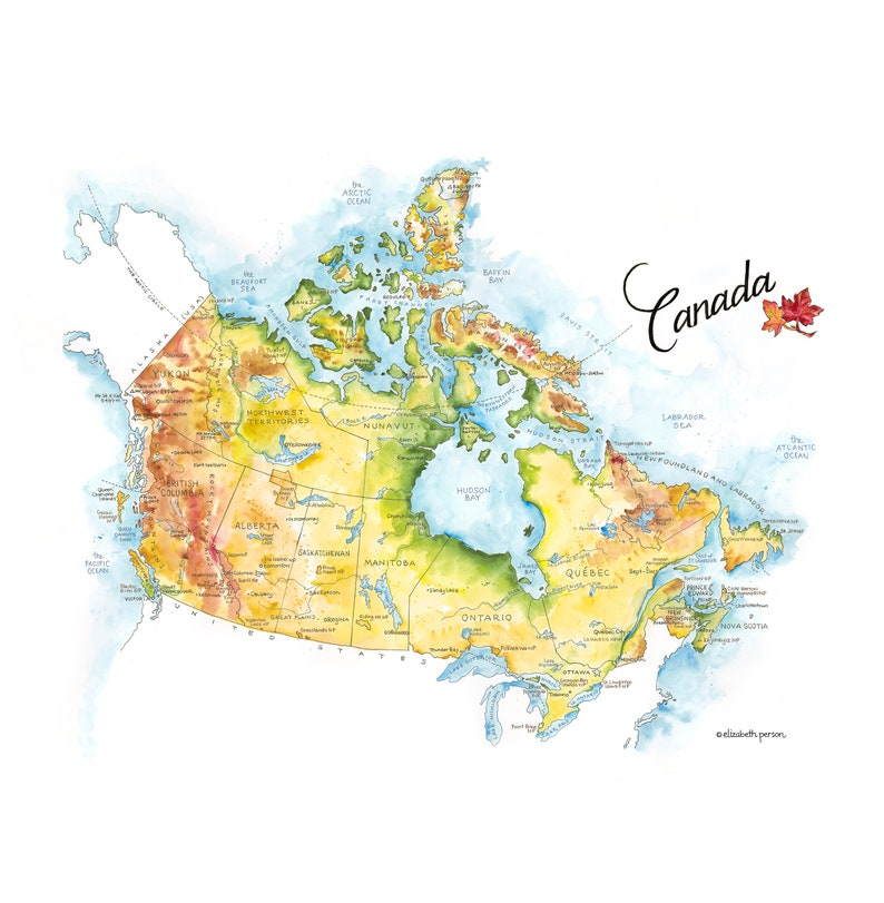 Country Of Canada Map.Canada Map Watercolor Illustration Country Map Canadian Province Map Wall Art Ottawa Quebec Artwork Map Poster Roadtrip Travel Gift Print