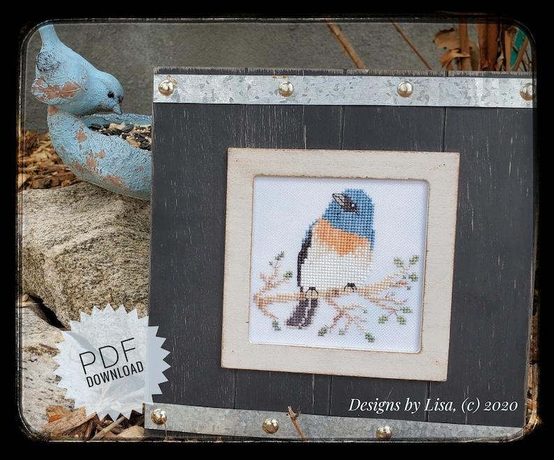 Bird Cross Stitch Instant Download E-Pattern Lazuli Bunting image 0