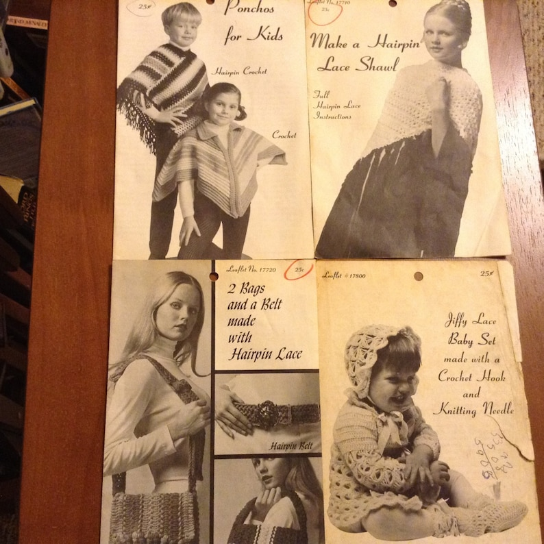 Lace Crochet CJ Bates Pattern Rare Hairpin Printed in USA Leaflet Broomstick Lot of 4