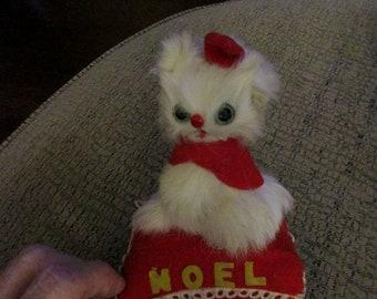 Vintage 40s Christmas Pillow Kitten NOEL Real Fur Original Tag Kitty Cat Unusual