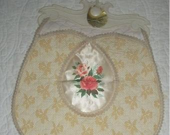 Hanging Vintage 40s Lingerie,Dainties,Hosiery Laundry Bag Ecru Lace Pink Roses