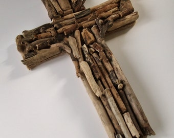 Crucifix or cross of Jesus, made from Cornish driftwood, natural & rustic