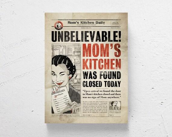 Retro kitchen art / kitchen wall art funny print mothers day | Etsy