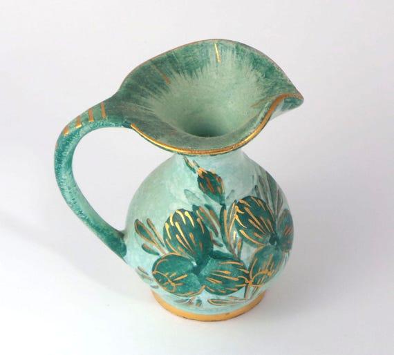 Vintage Holland Green Capri Handpainted Pottery Pitcher Vase 3 Etsy