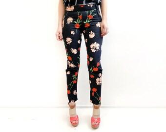 Black Floral Print Pants, Unique Black Pants, Skinny Black Trousers, Womens Trousers, Unique Pants, High Waist Pants, Womens Pants